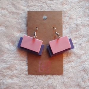 Purple & Pink Rectangle Foam Earrings